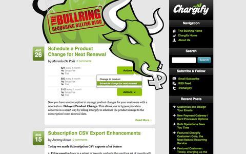 Screenshot of Blog chargify.com - The Bullring: Recurring & Subscription Billing Blog - Chargify - captured Sept. 18, 2014
