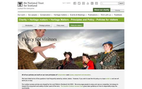 Screenshot of FAQ Page nts.org.uk - Policies for visitors - captured Dec. 21, 2016