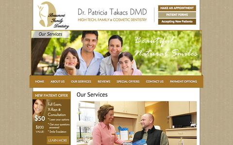 Screenshot of Services Page beaumontfamilydentistry.com - High-quality work with a comprehensive range of services  - Dentist in Lexington, KY - Dr. Takacs - captured Sept. 30, 2014