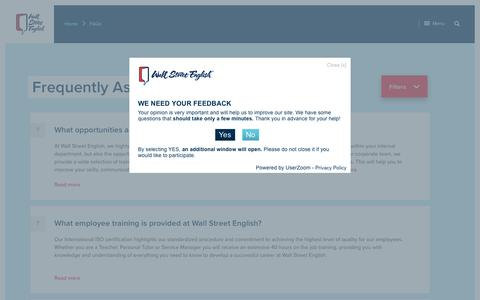 Screenshot of FAQ Page wallstreetenglish.com - FAQs Archive - Wall Street English - captured June 22, 2017