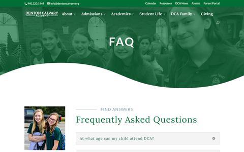 Screenshot of FAQ Page dentoncalvary.org - FAQ   Denton Calvary Academy - captured Oct. 8, 2018