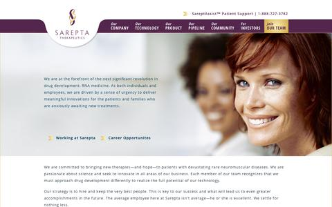Screenshot of Team Page sarepta.com - Join Our Team | Sarepta Therapeutics - captured Oct. 5, 2017