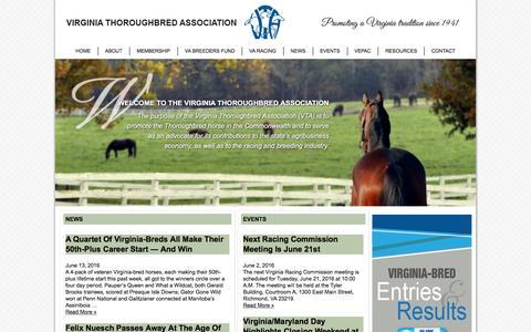 Screenshot of Home Page vabred.org - Virginia Thoroughbred Association - captured June 16, 2016