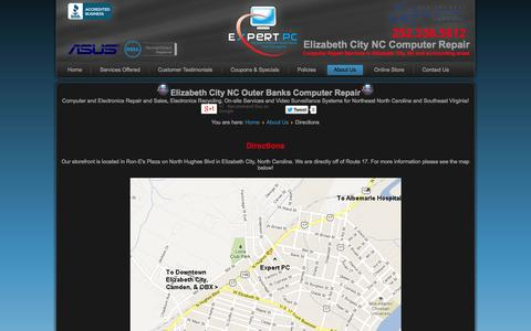 Screenshot of Maps & Directions Page expertpcnc.com - Expert PC Computer Repair Elizabeth City NC - Directions - captured Oct. 3, 2014
