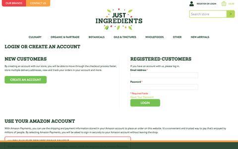 Screenshot of Login Page justingredients.co.uk - Customer Login - captured Nov. 15, 2018