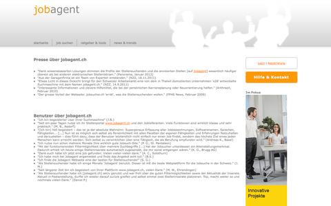 Screenshot of Testimonials Page jobagent.ch - Testimonials - jobagent.ch - captured Nov. 3, 2014