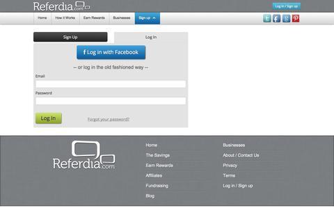 Screenshot of Login Page referdia.com - Referdia.com | Log in / Sign up - captured Oct. 7, 2014