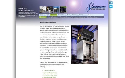 Screenshot of Products Page vst-inc.com - High-Quality, Precision Satellite Components - Vanguard Space Technologies - captured Oct. 7, 2014