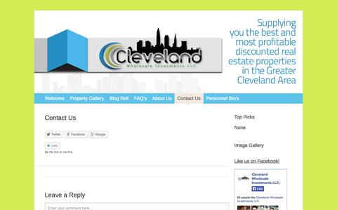 Screenshot of Contact Page 216reinvestments.com - Contact Us   Cleveland Wholesale Investments LLC. - captured Oct. 2, 2014
