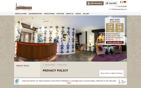 Screenshot of Privacy Page clewbayhotel.com - Clew Bay Hotel Privacy Policy Page - captured May 18, 2017