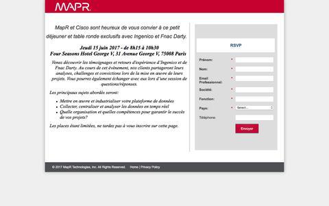 Screenshot of Landing Page mapr.com - MapR - Petit Déjeuner et table ronde exclusif - captured June 21, 2017