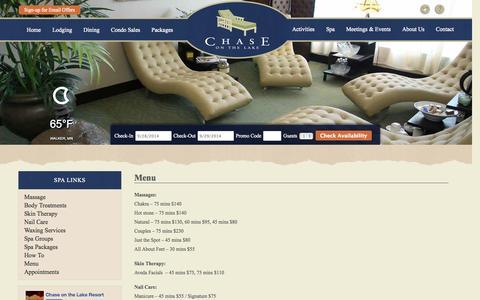 Screenshot of Menu Page chaseonthelake.com - Spa near Hotel on Leech Lake, Chase on the Lake, Northern Minnesota - captured Sept. 29, 2014