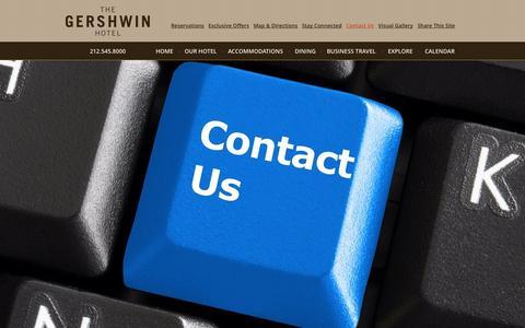 Screenshot of Contact Page gershwinhotel.com - Contact Us | Flatiron Hotel | The Gershwin Hotel - captured Oct. 6, 2014