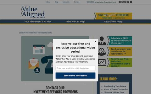 Screenshot of Contact Page valuealigned.com - Investment Services Contact | New Jersey | ValueAligned - captured Feb. 23, 2016