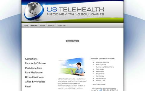 Screenshot of Services Page us-telehealth.com - US Telehealth - Services - captured Oct. 26, 2014