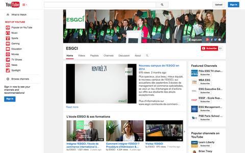 Screenshot of YouTube Page youtube.com - ESGCI  - YouTube - captured Oct. 22, 2014