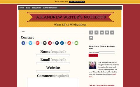 Screenshot of Contact Page akandrew.com - A.K.Andrew Contact Details - captured Oct. 30, 2014