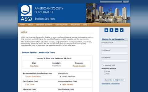 Screenshot of About Page asqboston.org - About - captured Sept. 26, 2014