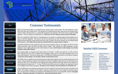 Screenshot of Testimonials Page energywatchsystems.com captured Oct. 2, 2014