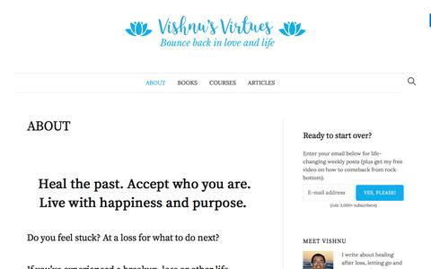Screenshot of About Page vishnusvirtues.com - About Vishnu's Virtues - Divorce and Life Purpose Coach | Vishnu's Virtues - start over and rebuild your life after a breakup - captured June 21, 2017