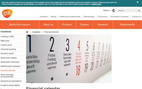 Screenshot of gsk.com - Financial calendar | GSK - captured March 19, 2016