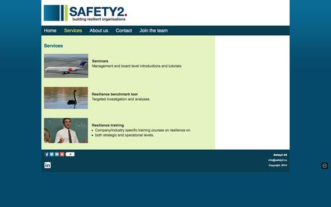 Screenshot of Services Page safety2.no - Safety2 - Services - captured Oct. 29, 2014