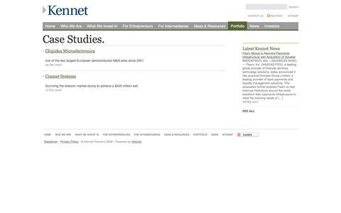 Screenshot of Case Studies Page kennet.com - Case Studies - captured Oct. 17, 2017