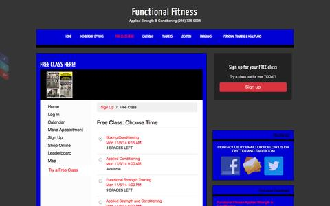Screenshot of Signup Page functionalfitnesscleveland.com - Functional Fitness » FREE CLASS HERE! - captured Nov. 3, 2014