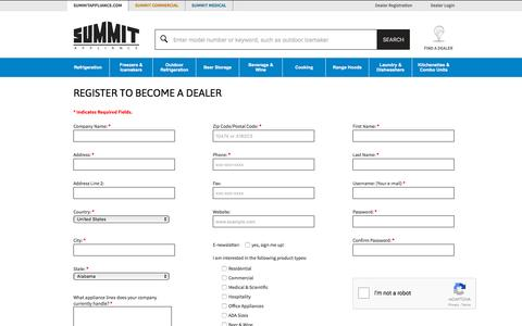 Screenshot of Signup Page summitappliance.com - Dealer Registration | Summit Appliance - captured Jan. 14, 2016