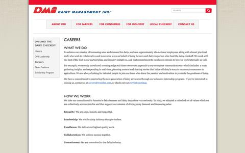 Screenshot of Jobs Page dairy.org - Dairy Management Inc. Careers - Rosemont, IL | DMI - captured Oct. 12, 2017