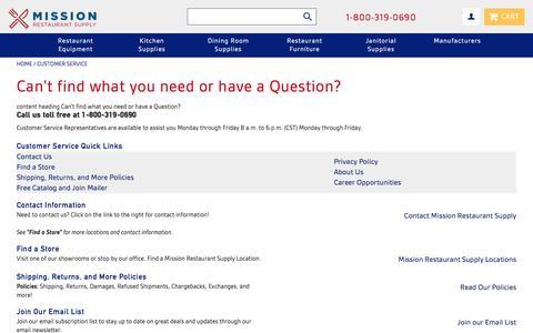 Screenshot of Support Page missionrs.com - Customer Service - captured Dec. 3, 2016