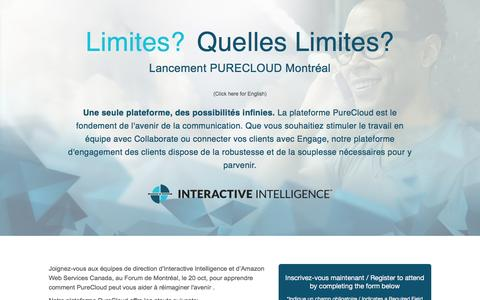 Screenshot of Landing Page inin.com - PureCloud Launch Canada in Montreal - captured Oct. 22, 2016