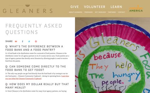Screenshot of FAQ Page gleaners.org - Frequently Asked Questions | Gleaners Food Bank of Indiana - captured Jan. 29, 2016