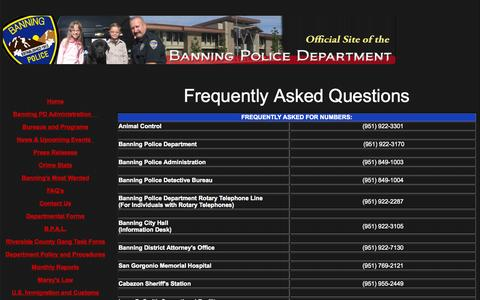 Screenshot of FAQ Page banningpolice.org - The Official Site of the Banning Police Department - captured Oct. 5, 2014
