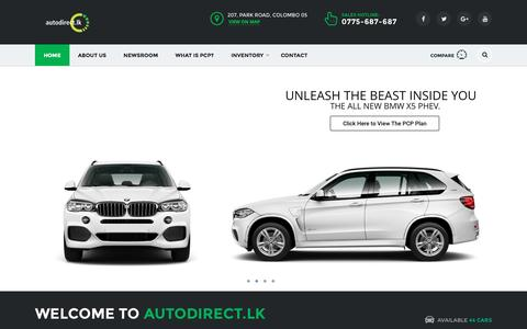 Screenshot of Home Page autodirect.lk - Vehicles Made Affordable To Your Budget - autodirect.lk - captured Sept. 13, 2016