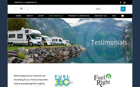 Screenshot of Testimonials Page fuel360.co.nz - Testimonials – Fuel360 - captured Sept. 1, 2018
