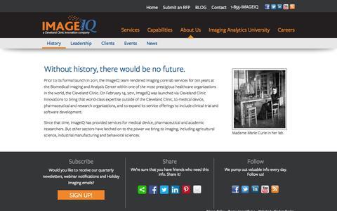 Screenshot of About Page image-iq.com - History | Image Analysis Company | ImageIQ - captured Sept. 30, 2014