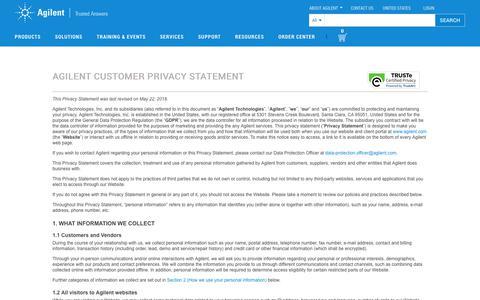 Screenshot of Privacy Page agilent.com - Agilent | Chemical Analysis , Life Sciences, and Diagnostics - captured Sept. 17, 2019