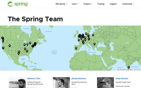 Screenshot of Team Page spring.io - Spring | Team - captured Feb. 20, 2020