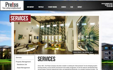 Screenshot of Services Page tpco.com - Services by The Preiss Company - captured Oct. 18, 2018