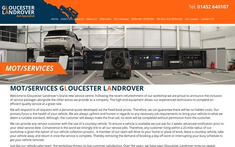 Screenshot of Services Page gloucesterlandrover.co.uk - Servicing for Used Cars – Gloucester Landrover - captured May 20, 2017