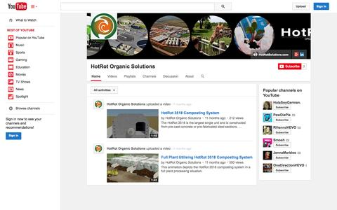 Screenshot of YouTube Page youtube.com - HotRot Organic Solutions  - YouTube - captured Oct. 23, 2014