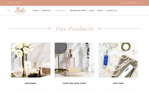 Screenshot of Products Page belomed.com - Our Products | Belo Medical Group - captured Sept. 27, 2018