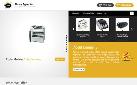 Screenshot of Home Page abhayagencies.net - Wholesale Supplier of Copier Machines & Currency Counting Machine by Abhay Agencies, Surat - captured July 28, 2018