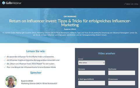 Screenshot of Landing Page gotomeeting.com - Return on Influencer Invest: Tipps & Tricks für erfolgreiches Influencer-Marketing - captured May 29, 2018
