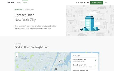 Screenshot of Contact Page uber.com - Contact Uber in New York City   Find a Greenlight Hub   Uber - captured Oct. 28, 2017