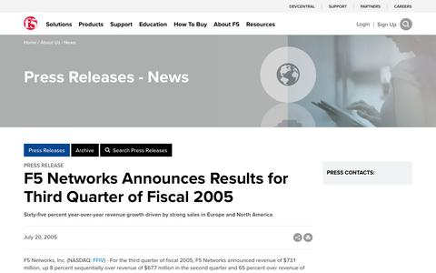 Screenshot of Press Page f5.com - F5 Networks Announces Results for Third Quarter of Fiscal 2005 - captured March 8, 2018