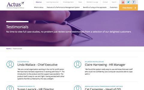 Screenshot of Testimonials Page actus.co.uk - Testimonials - Actus: Performance Management Software. - captured April 3, 2016