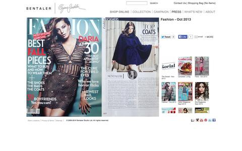 Screenshot of Press Page sentaler.com - Fashion - Oct 2013 | Sentaler Luxury Designer Outerwear | Alpaca Coats, Capes, Scarves - captured Oct. 3, 2014