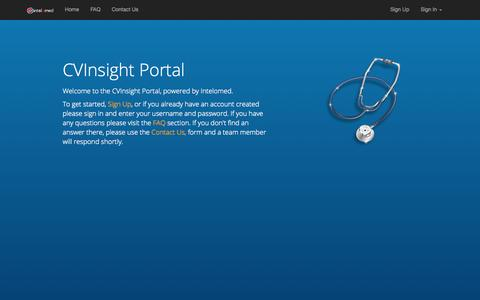 Screenshot of Login Page intelomed.com - Welcome to CVInsight Portal! - captured Nov. 5, 2014